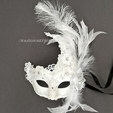 Venetian Brocade Lace Ostrich Feather Masquerade Costume Porm Wedding Party Mask