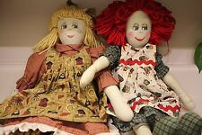 2 Vintage Primitive Raggedy HANDMADE Dolls Red Hair And Blonde Painted Face