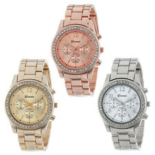 Faux Chronograph Quartz Ladies Women Crystals Watches Plated Classic Round Watch