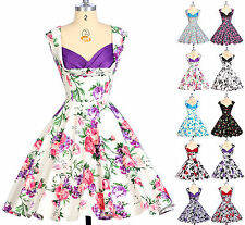 2015 Rockabilly 50s 60's Vintage Retro Cocktail Evening Swing Pinup Floral Dress