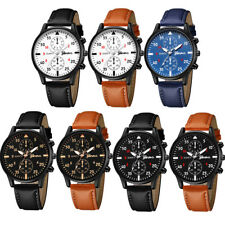 Classic Vintage Mens Waterproof Leather Strap Sport Analog Quartz Army Watch Pop