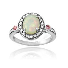 925 Silver Diamond Accent Created White Opal & Pink Sapphire Oval Ring