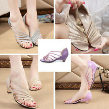 Summer Sexy Women's Evening Wedding Prom Party Low Heel Hollow Out Sandals Shoes