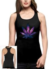 marijuana Leaf Party Rave Weed Plant Cosmic Style dope  Racerback Tank Top small