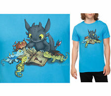 "NEW How To Train Your Dragon 2 TOOTHLESS ""Story Time"" Mens Slim T-Shirt  XS-2X"