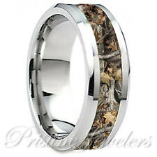 Titanium Mens Real Oak Hunter Camouflage Mossy Tree Camo Hunting Wedding Ring