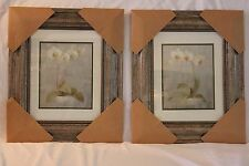 New! Matching PAIR Framed Orchids Prints! Wide Antiqued Frame! Double Matted!