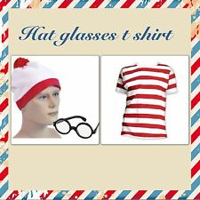 RED & WHITE STRIPED WALLY T SHIRT HAT GLASSES WALLY PARTY FANCY DRESS WHERES NEW