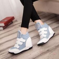 Womens High Top Hidden Wedge Heel Sports Velcro Strap Sneakers Shoes Athletic