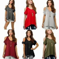 Open Cold Shoulder V-Neck Short Sleeve Hi Low Hem Long Cut Out Tunic Top Blouse