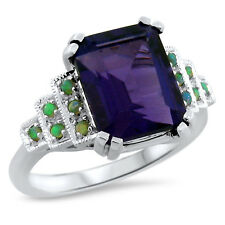 PURPLE LAB AMETHYST OPAL .925 STERLING SILVER ANTIQUE ART DECO STYLE RING,  #646