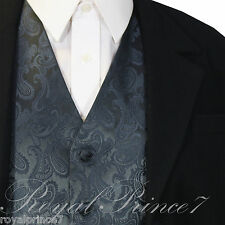 CHARCOAL GRAY Paisley Tuxedo Suit Dress Vest Waistcoat Formal Prom Wedding XS-6X