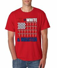 Men's Tee Shirt Red White And Wasted 4th of July Clothing Cool Party USA Flag
