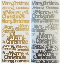 MERRY CHRISTMAS Peel Off Stickers Holly Card Making Gold or Silver