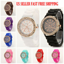 Geneva Silicone Golden Crystal Stone Quartz Ladies/Women/Girls Jelly Wrist Watch