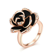 18K Gold 3D Black Rose Swarovski Crystal Ring  Engagement Party