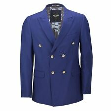 Mens Classic Fitted Double Breasted Navy Blue Blazer Gold Buttons Vintage Jacket