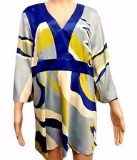 Womens Silky Satin Abstract Pattern Long Sleeve Kimono Style Tunic Top NEW