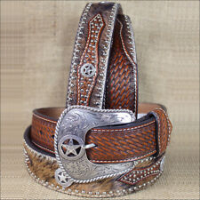 WESTERN NOCONA HAIR STAR CONCHO BROWN LEATHER MENS BELT 34-46 INCHES