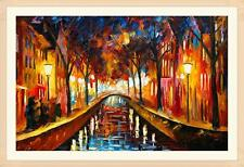 The Night of Street Secenery Oil Painting Print on Canvas no Frame NO.41,Beauty