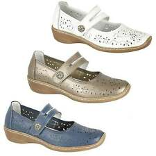 Boulevard Ladies Womens Leather Mary Jane Comfort Wedge Heel Casual Summer Shoes