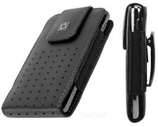 Leather Vertical Pouch Cover Case for LENOVO phones. Black + Holster Belt-Clip*