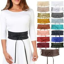 Women Soft Faux Leather Wide Self Tie Wrap Around Obi Waist Band Cinch Boho Belt