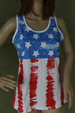 New Women's American Flag Tank Top T-Shirt Stars Stripes Red White and Blue