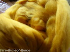 DYED MERINO WOOL ROVING SUNSET YELLOW IDEAL SPINNING FELTING DREADS FIBRE ART