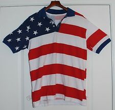 New American Flag Polo Shirt Red White and Blue Stars & Stripes USA Golf July 4