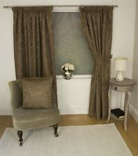 JACQUARD FLORAL DAMASK BROWN LINED PENCIL PLEAT CURTAINS *10 SIZES*