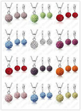 925 Sterling Silver Austria Crystal Disco Ball Necklace Earring Jewelry Gift Set