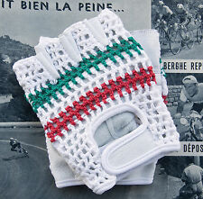 Vintage Style Italian Champion Track Mitts Crochet Cycling Gloves L'Eroica Retro