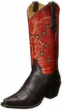 Women's Stetson 12-021-6105-0674 Black Leather Western Embroidery Cowboy Boots
