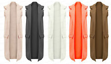 Ladies Girls NEW Long Sleeveless Trench Smart Textured Jacket Top Coat 8-14