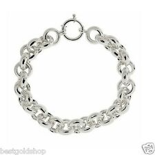 Solid Sterling Silver 925 High Polished Rolo Charm Bracelet 12mm QVC # J266803