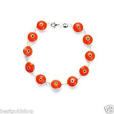 ORANGE Greek Mati Hamsa Evil Eye Bead Charm Bracelet Genuine 925 Sterling Silver