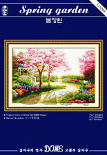 Spring Garden with Cherry Blossom Tree @ DOME counted cross stitch kit 14ct/11ct