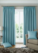 WOVEN JACQUARD SQUARES DUCK EGG BLUE LINED PENCIL PLEAT CURTAINS *9 SIZES*