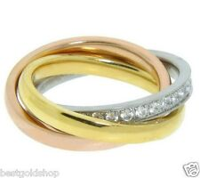 QVC Interlocked TriColor Gold Clad Roll Ring with Crystal Accent Stainless Steel