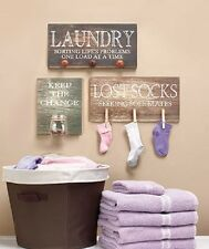 Wall Art Laundry Room Sign Country Rustic Home Decor Hanging Wooden Plaque