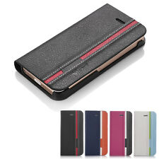 For Apple iPhone 5 5S Hybrid Flip Wallet PU Leather Stand Case Cover w/ Film