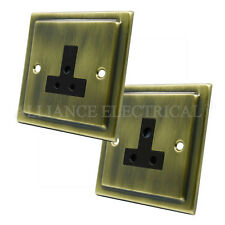 Victorian Antique Brass 5 Amp / 2 Amp Socket - Round Pin Unswitched Outlet Point