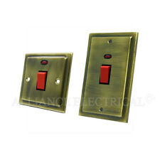 Victorian Antique Brass 45A Cooker Switch / Socket - 45 Amp Cooker Control Unit