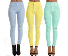 Womens Ladies Ripped Knee Sexy Skinny High Waisted Stretchy Jeans Jeggings