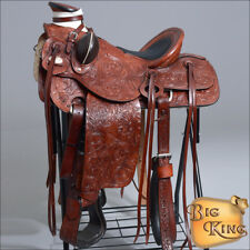WD092MRED  HILASON BIG KING WESTERN LEATHER WADE RANCH ROPING SADDLE 15 16 17