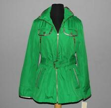 MICHAEL KORS Kelly Green Hidden Hood Belted Trench Coat Bronze Faux Trim Wms NWT
