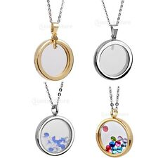 VARIOUS Round LIVING MEMORY Photo Locket Pendant Necklace Jewelry Floating Charm