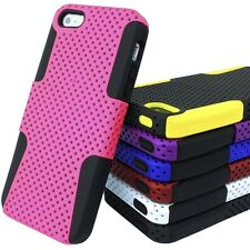 For Apple iPhone 5 5S S APEX Hybrid Hard & Silicone Protective Mesh Cover Case