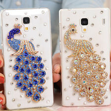 Shine Peacock Bling Transparent Clear Crystal Diamonds Hard Back Case Cover #15